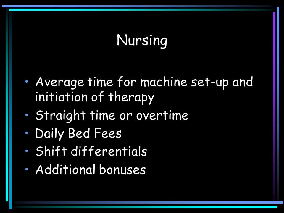 Nursing Average time for machine set-up and initiation of therapy