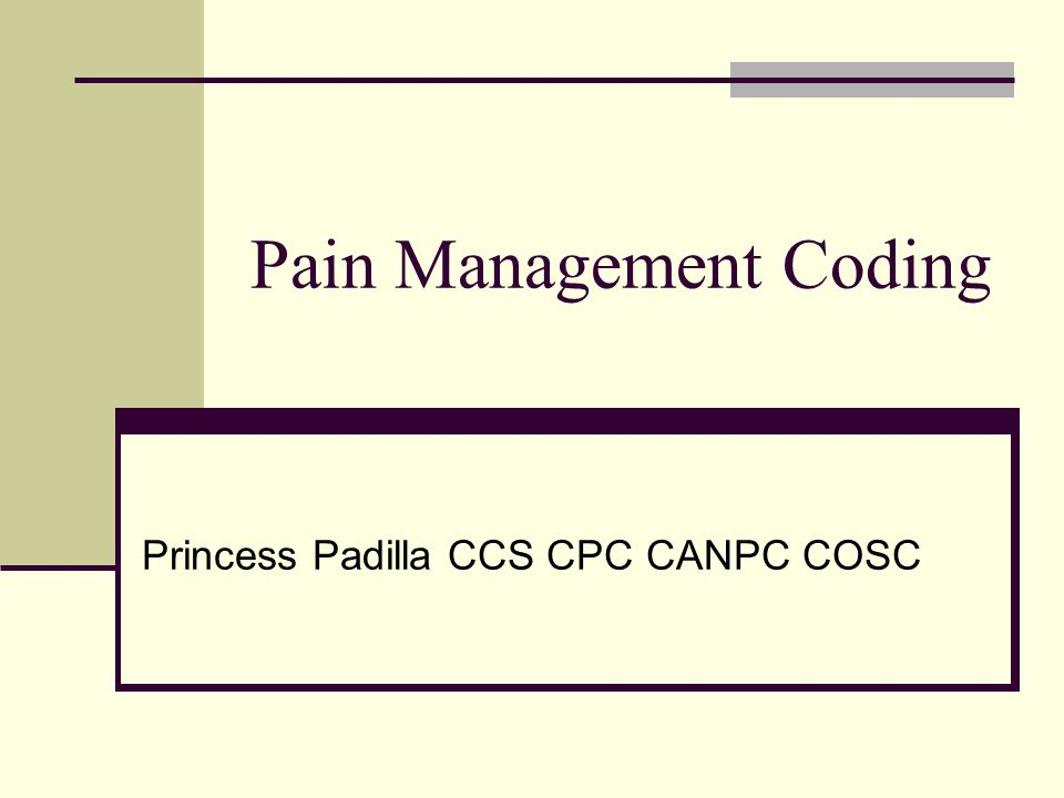 Pain Management Coding