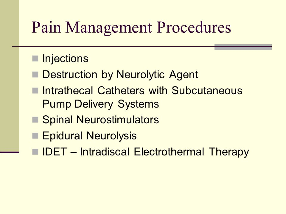 Pain Management Procedures