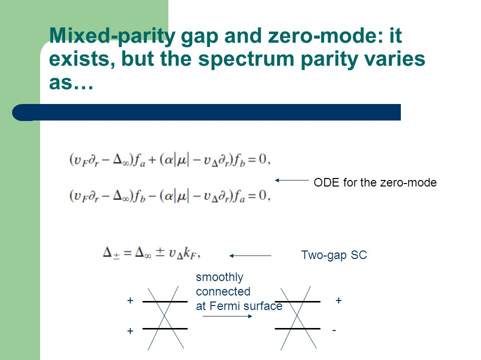 Mixed-parity gap and zero-mode: it exists, but the spectrum parity varies as…