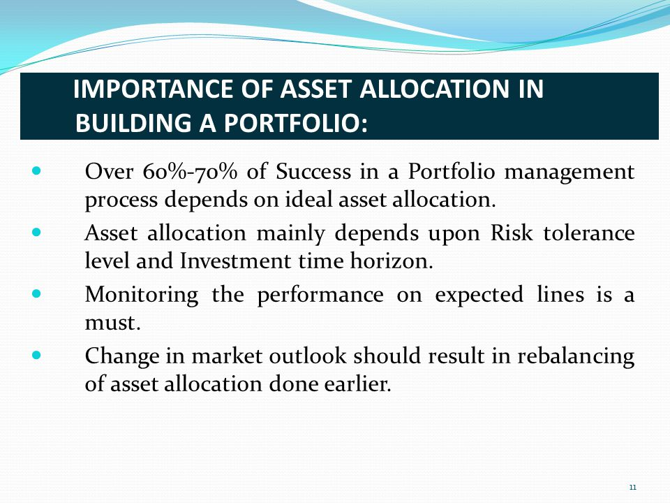 IMPORTANCE OF ASSET ALLOCATION IN BUILDING A PORTFOLIO: