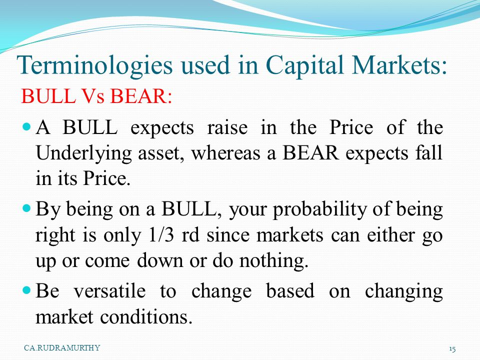 Terminologies used in Capital Markets: