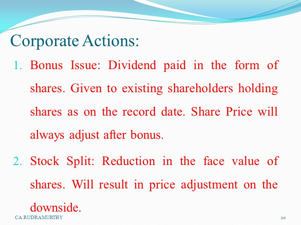 Corporate Actions: