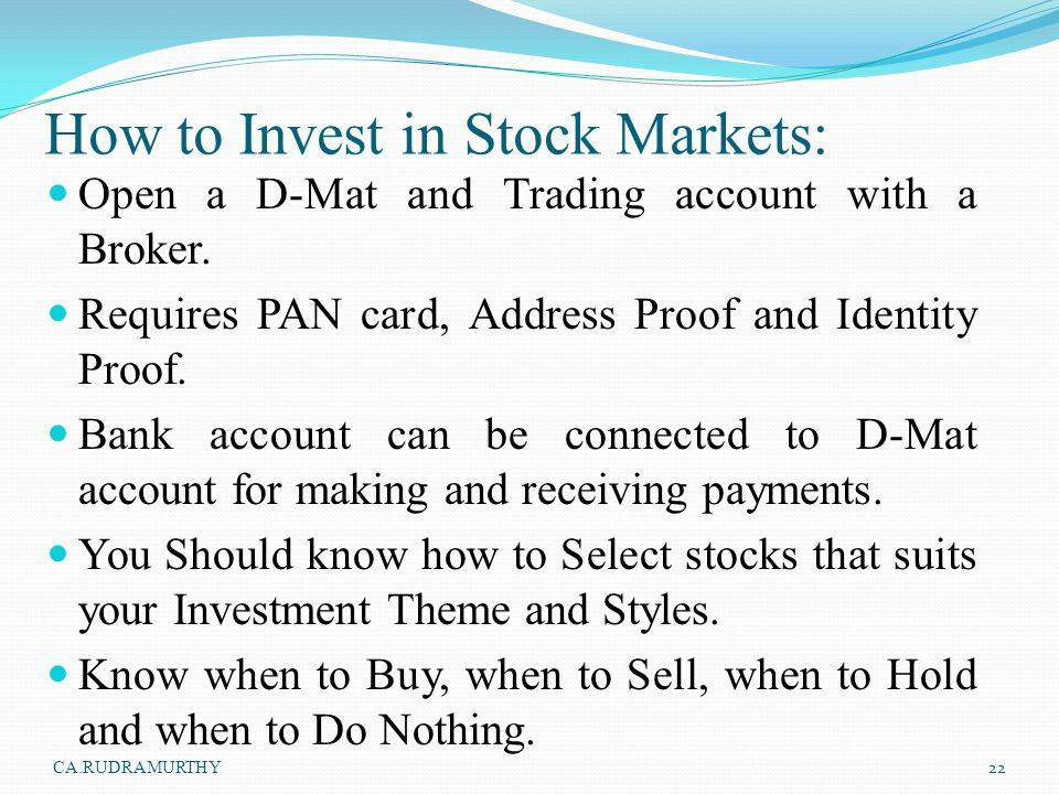 How to Invest in Stock Markets: