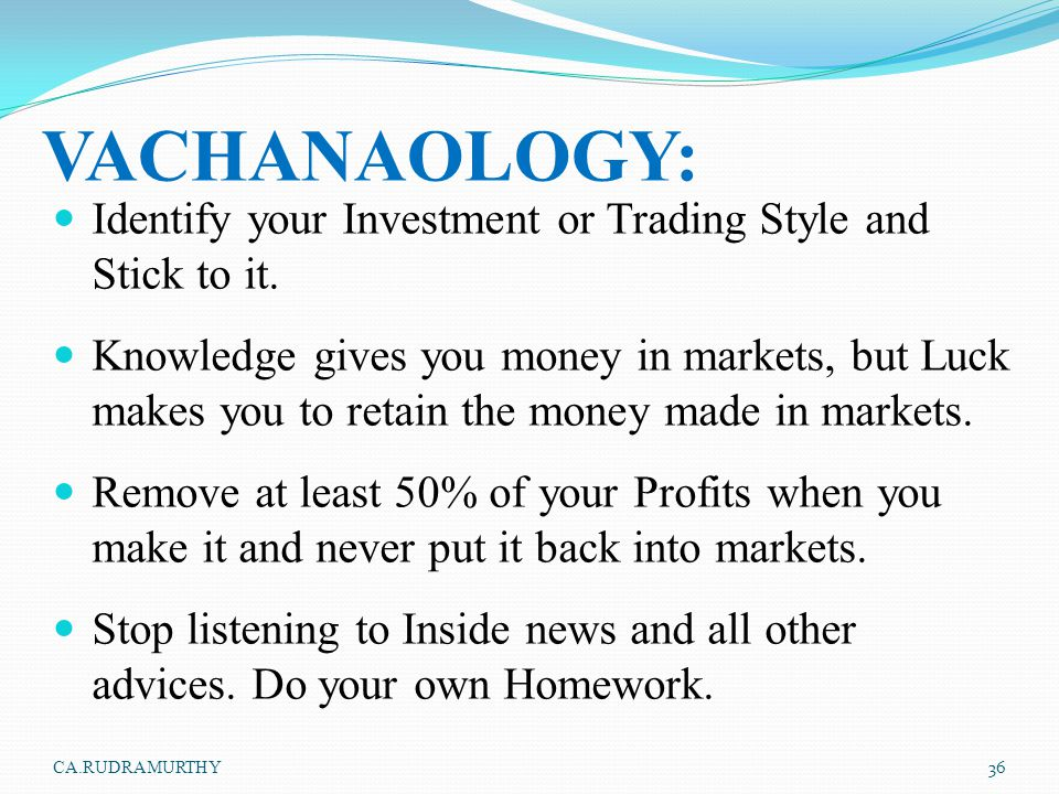 VACHANAOLOGY: Identify your Investment or Trading Style and Stick to it.