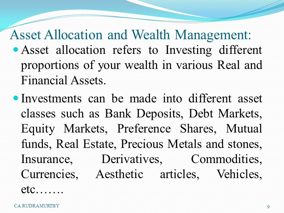 Asset Allocation and Wealth Management: