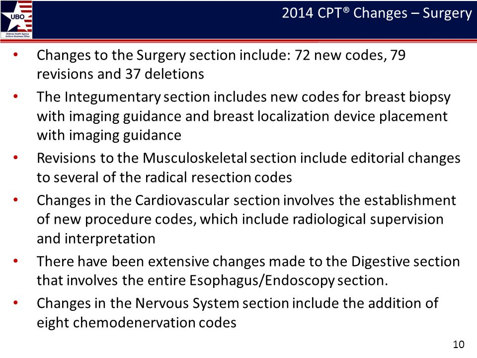 2014 CPT® Changes – Surgery Changes to the Surgery section include: 72 new codes, 79 revisions and 37 deletions.