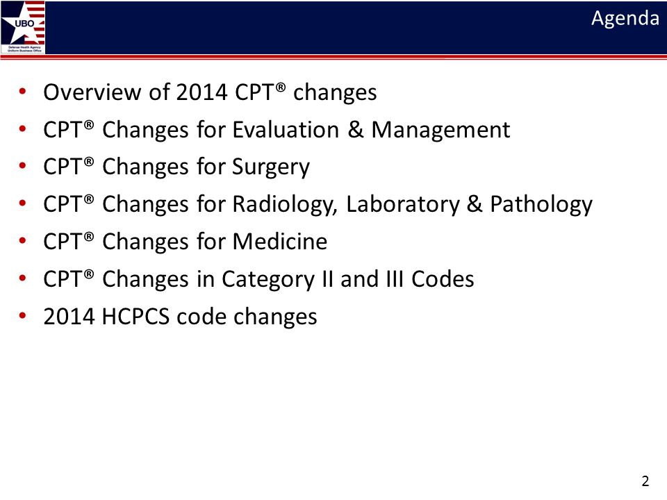 Overview of 2014 CPT® changes CPT® Changes for Evaluation & Management