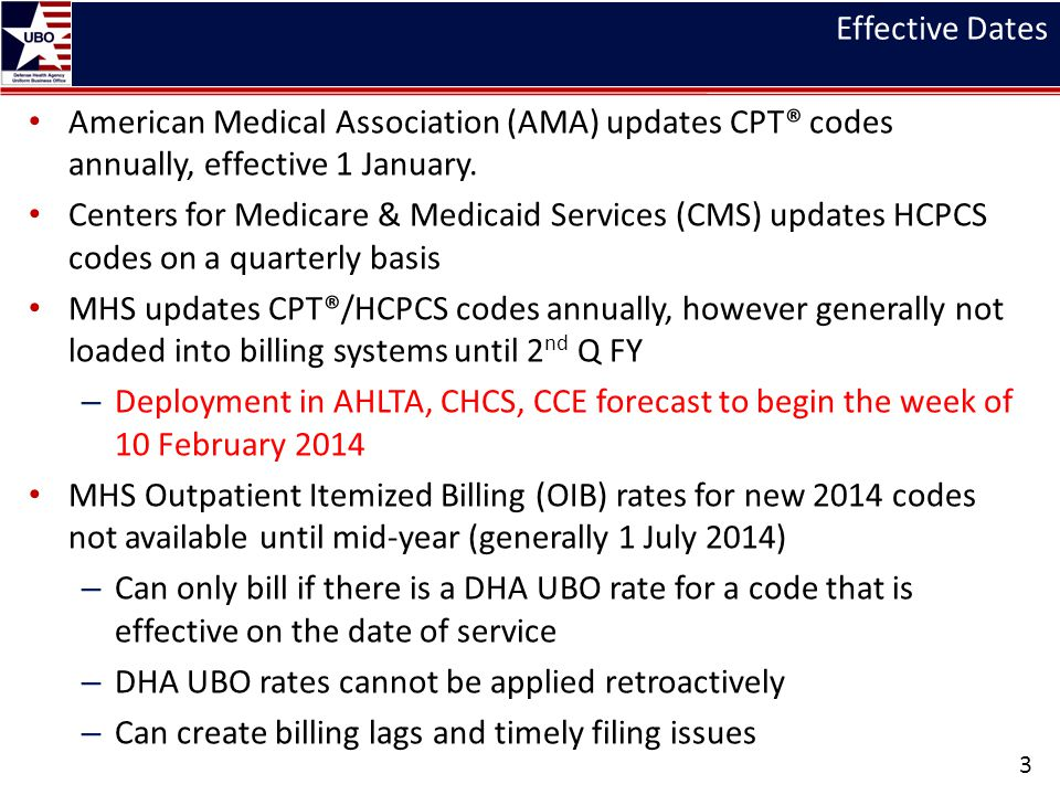 Effective Dates American Medical Association (AMA) updates CPT® codes annually, effective 1 January.