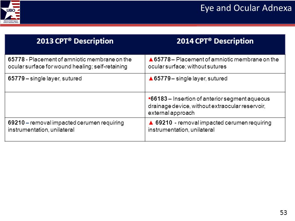 Eye and Ocular Adnexa 2013 CPT® Description 2014 CPT® Description