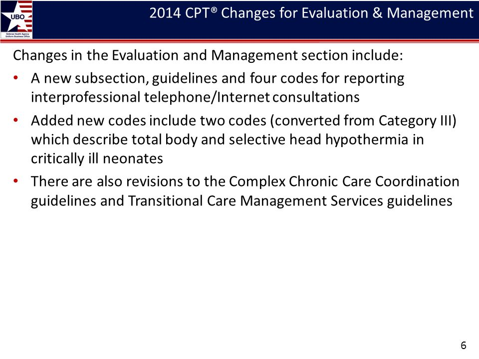 2014 CPT® Changes for Evaluation & Management