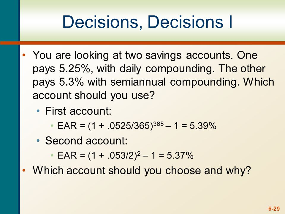 Decisions, Decisions I Continued