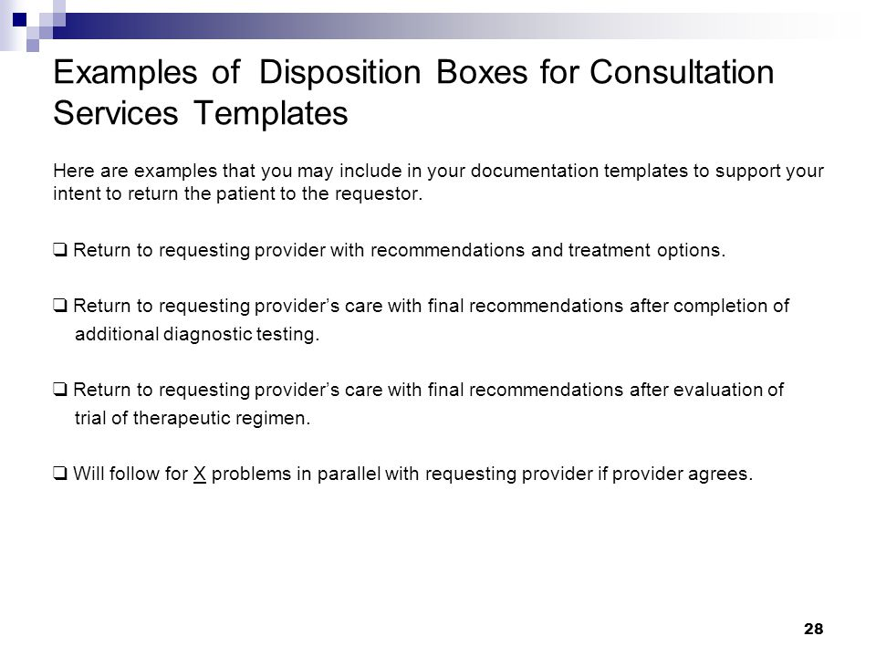 Examples of Disposition Boxes for Consultation Services Templates