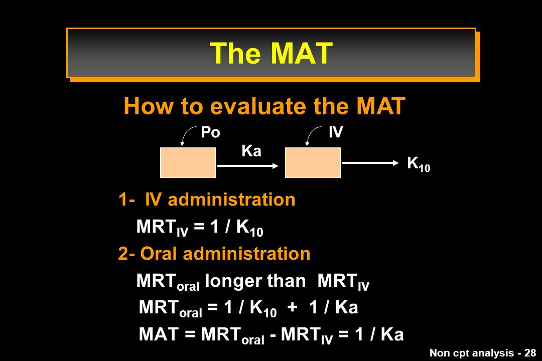 The MAT How to evaluate the MAT 1- IV administration MRTIV = 1 / K10