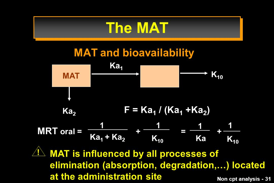 The MAT MAT and bioavailability F = Ka1 / (Ka1 +Ka2) MRT oral = + = +