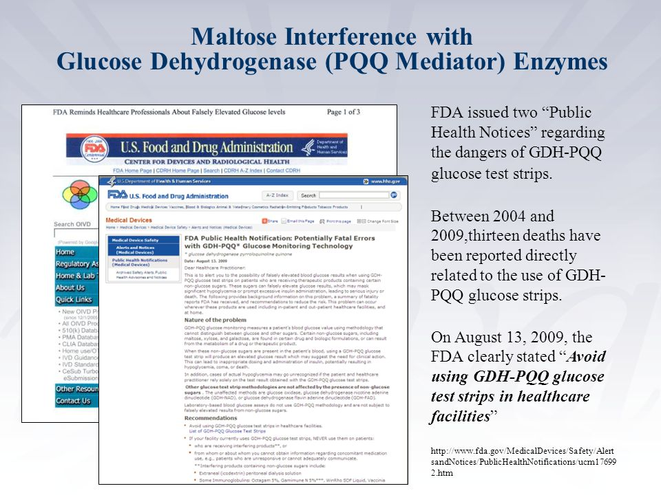 Maltose Interference with Glucose Dehydrogenase (PQQ Mediator) Enzymes
