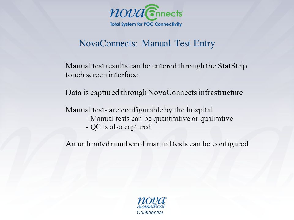 NovaConnects: Manual Test Entry