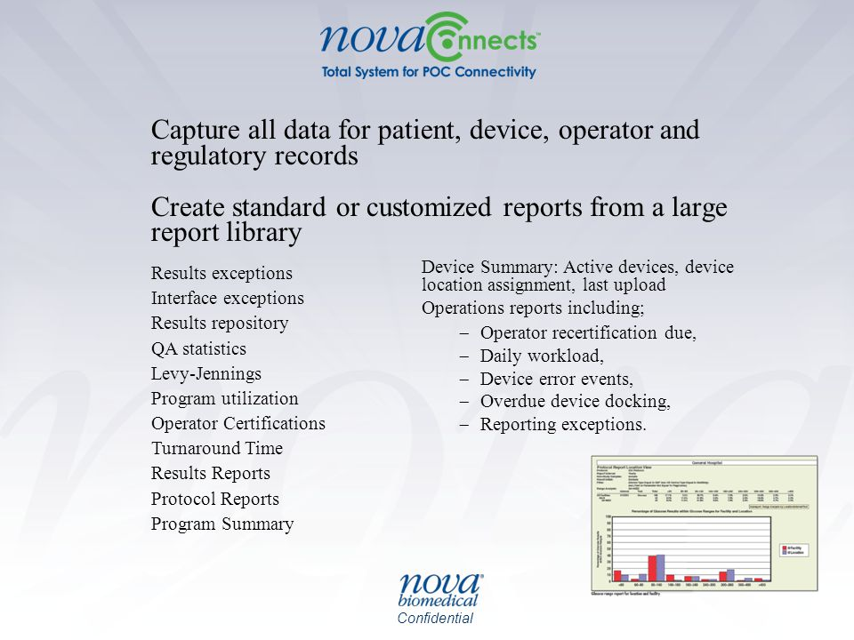 Capture all data for patient, device, operator and regulatory records