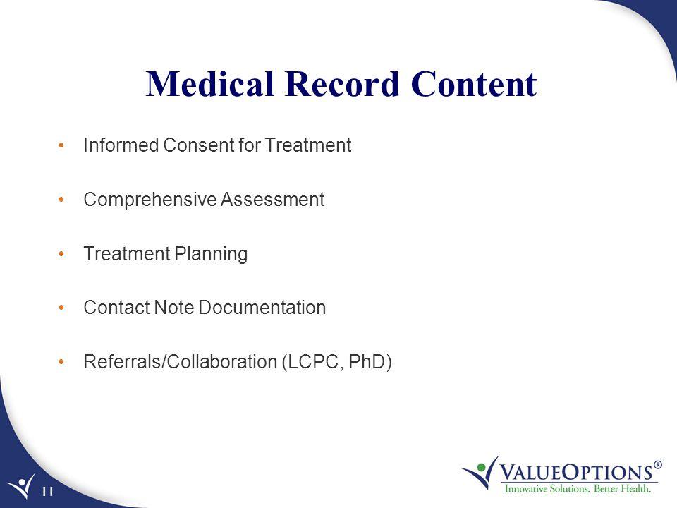 Medical Record Content