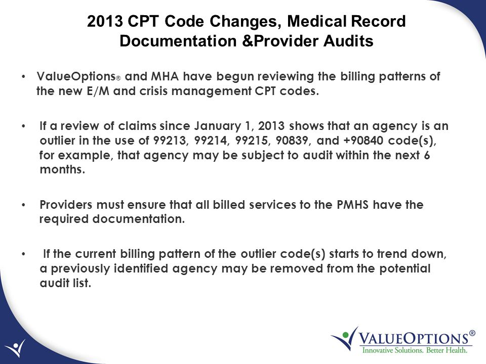 2013 CPT Code Changes, Medical Record Documentation &Provider Audits