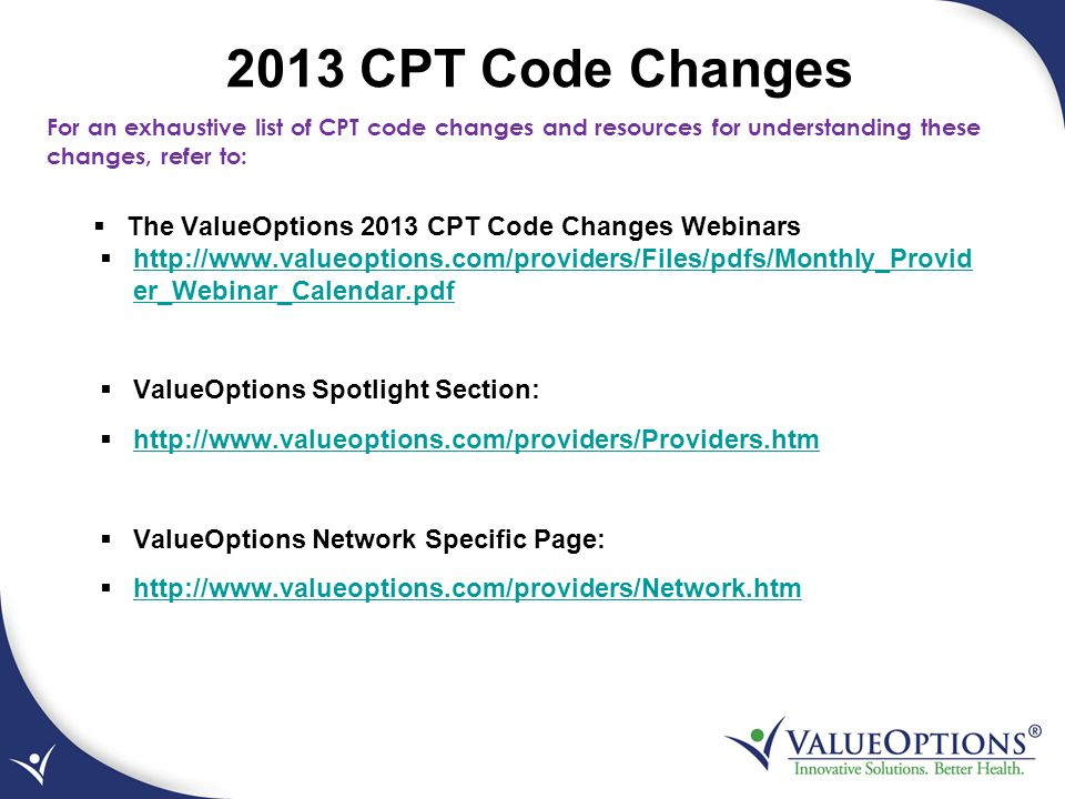 2013 CPT Code Changes The ValueOptions 2013 CPT Code Changes Webinars