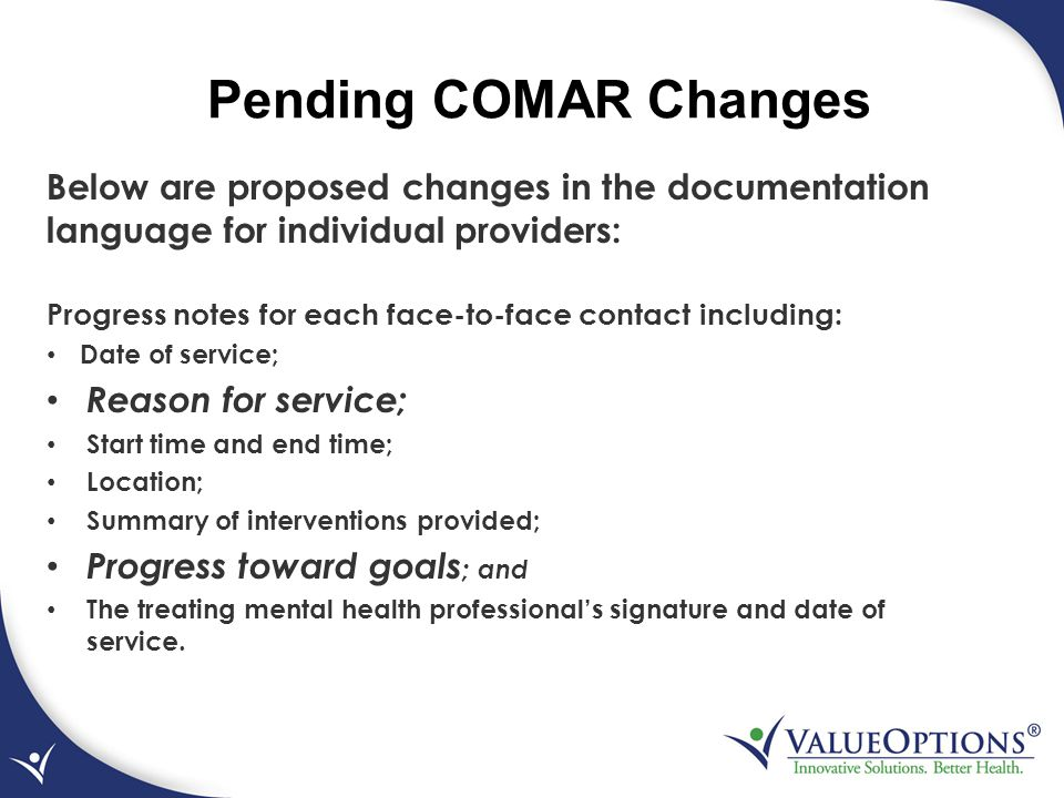 Pending COMAR Changes Below are proposed changes in the documentation language for individual providers: