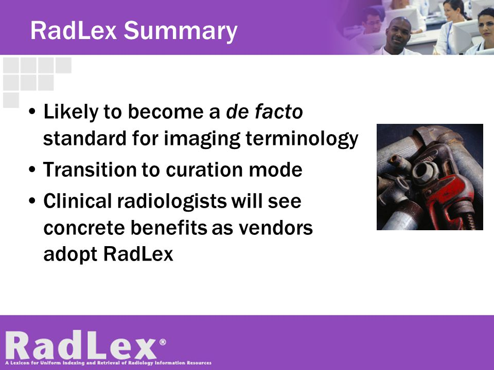 RadLex Summary Likely to become a de facto standard for imaging terminology. Transition to curation mode.