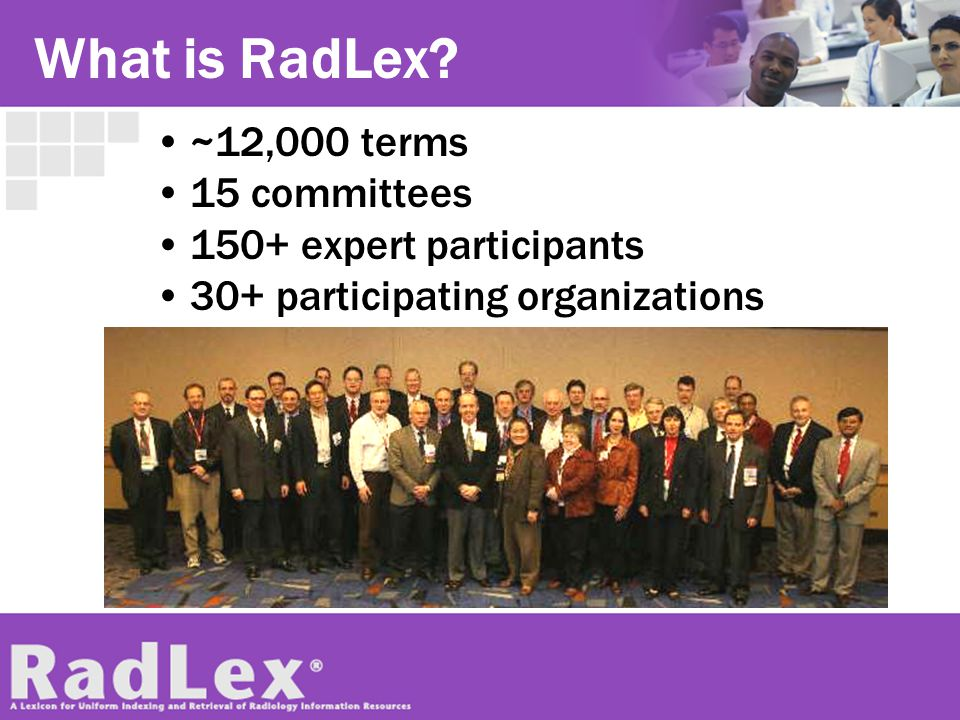 What is RadLex ~12,000 terms 15 committees 150+ expert participants