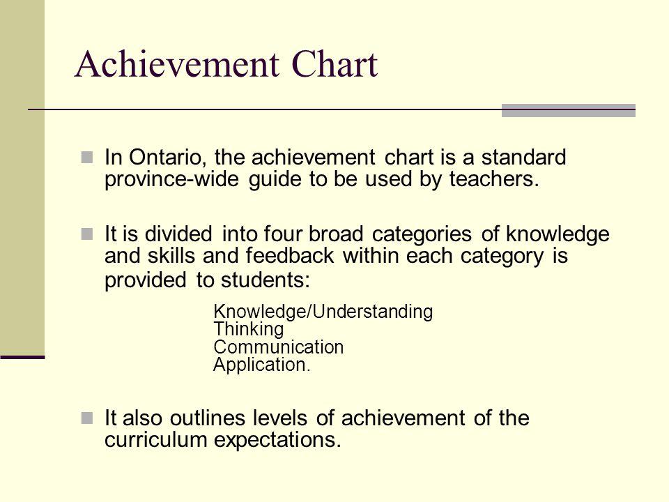 Achievement Chart In Ontario, the achievement chart is a standard province-wide guide to be used by teachers.