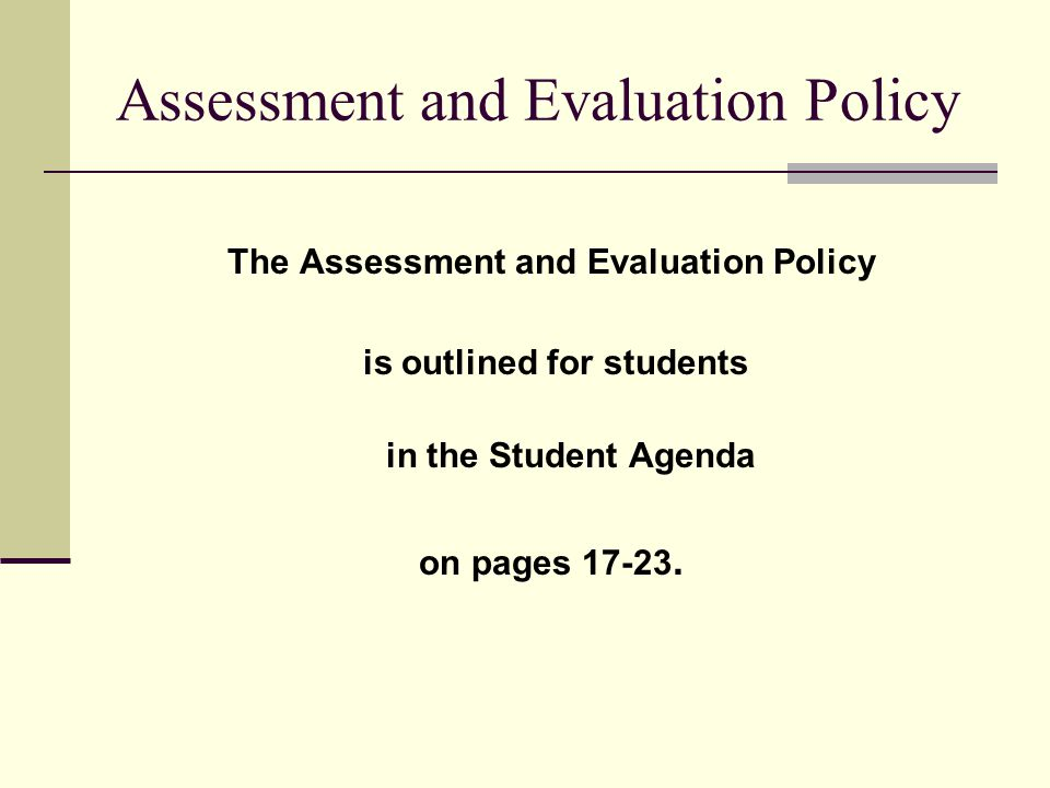 Assessment and Evaluation Policy