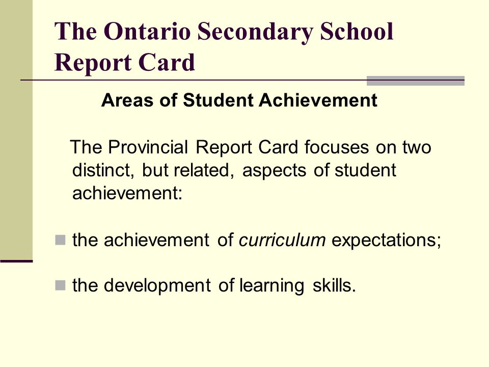 The Ontario Secondary School Report Card