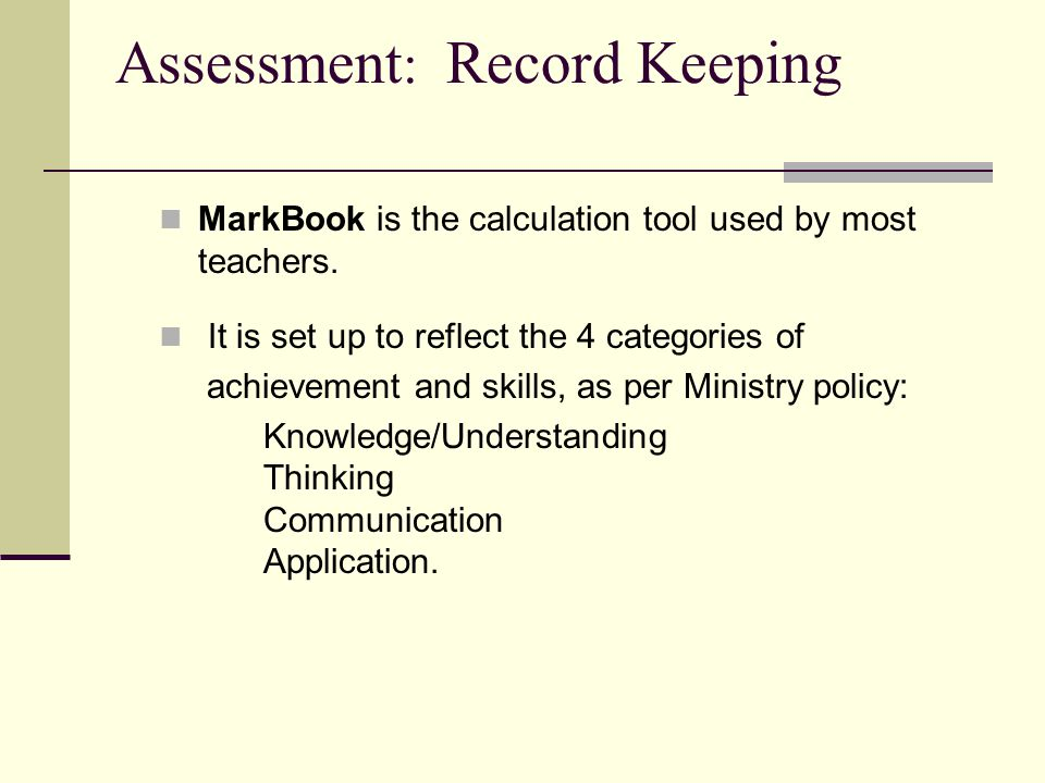 Assessment: Record Keeping
