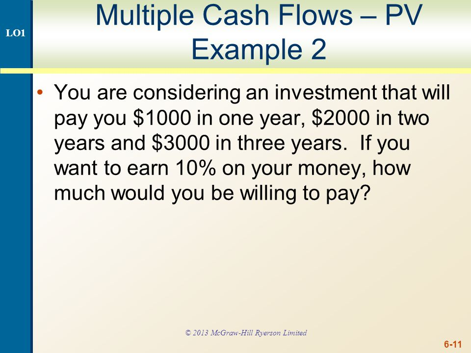 Multiple Cash Flows – PV Example 2 continued