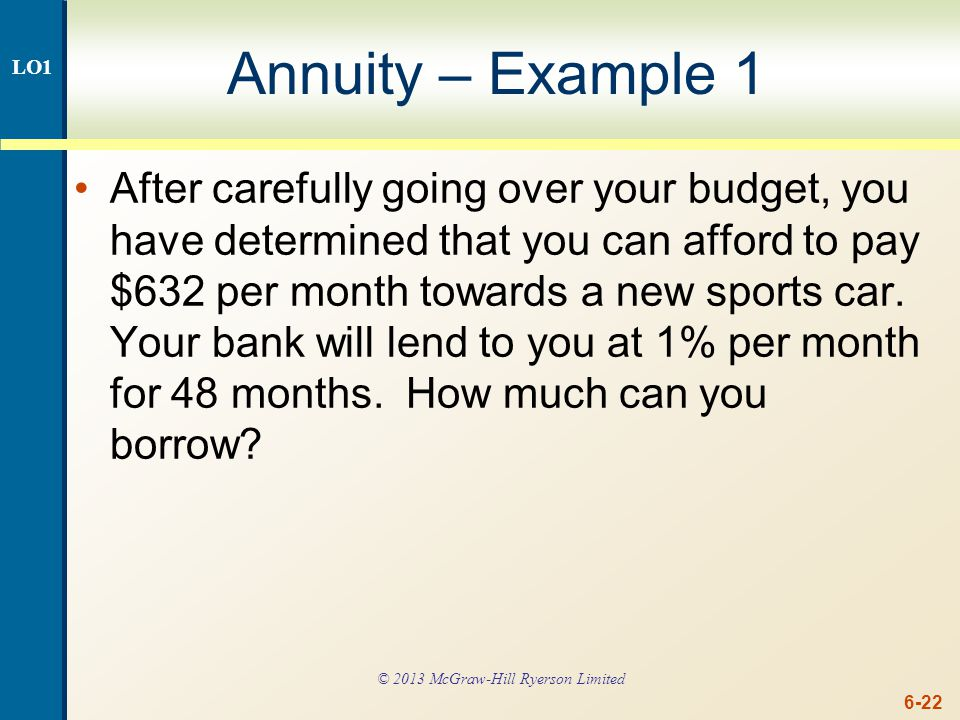 Annuity – Example 1 continued