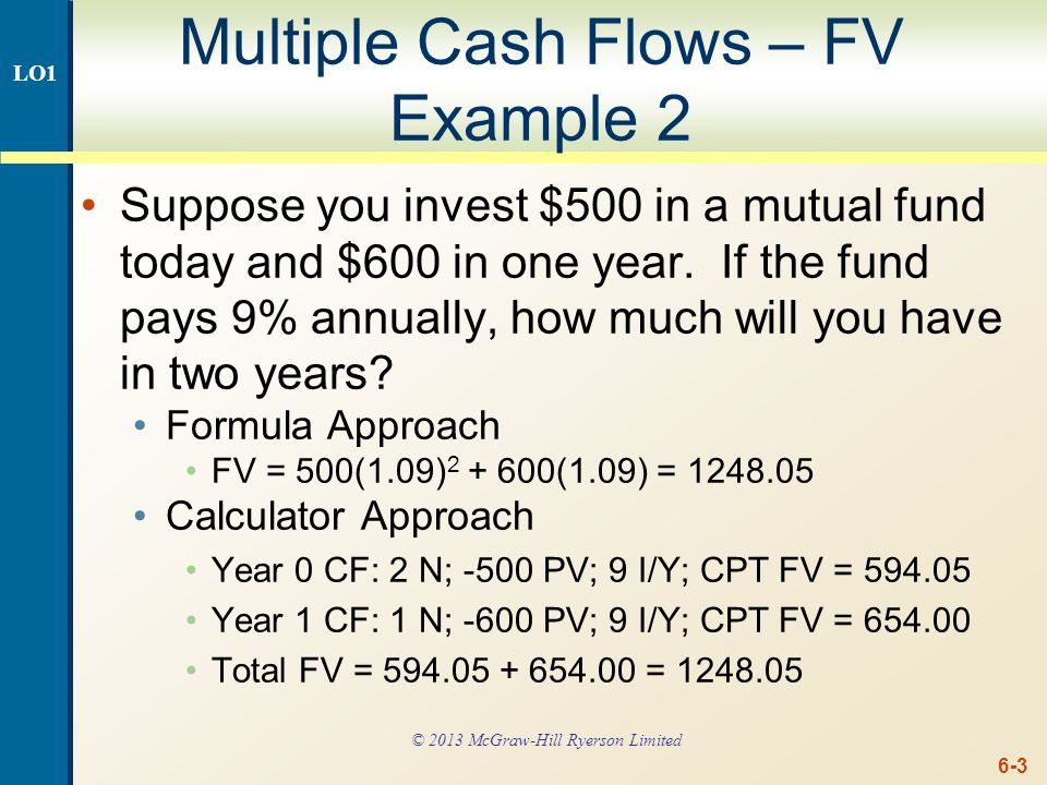Multiple Cash Flows – FV Example 2 Continued