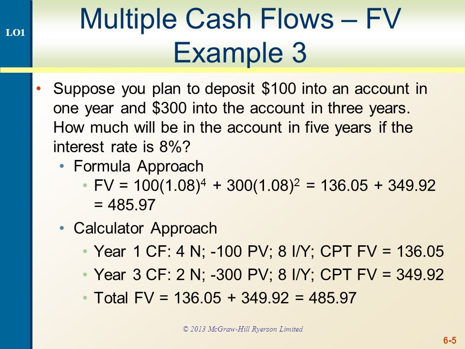 Multiple Cash Flows – PV Example 1