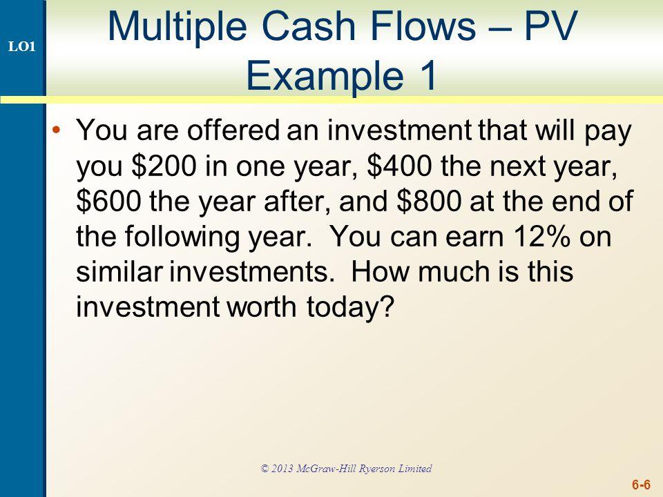 Multiple Cash Flows - PV Example 1 - Timeline