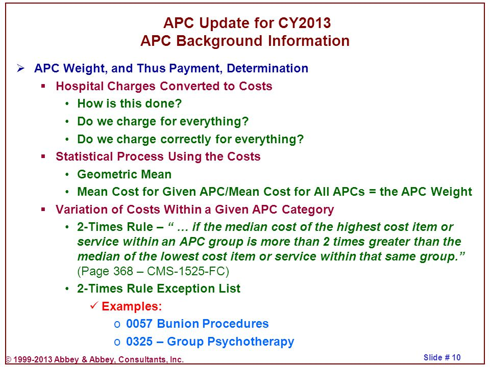 APC Update for CY2013 APC Background Information