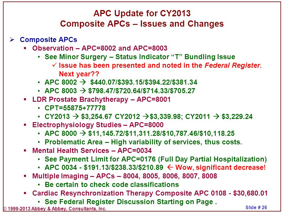 APC Update for CY2013 Composite APCs – Issues and Changes