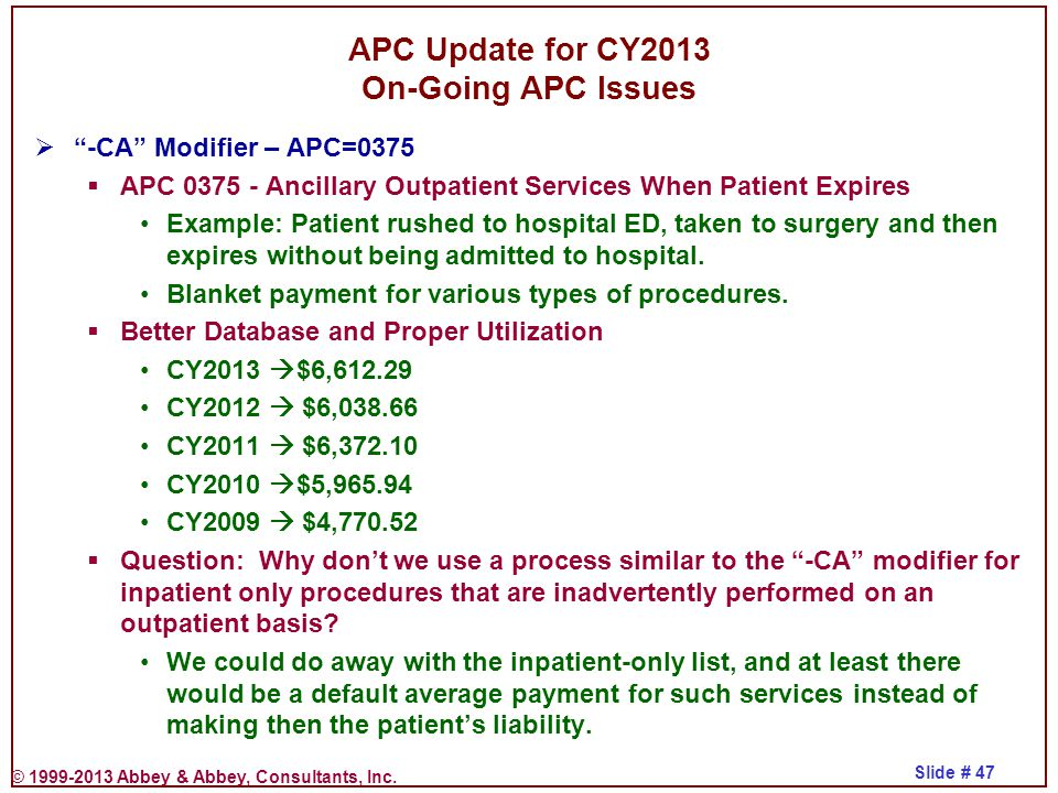 APC Update for CY2013 On-Going APC Issues