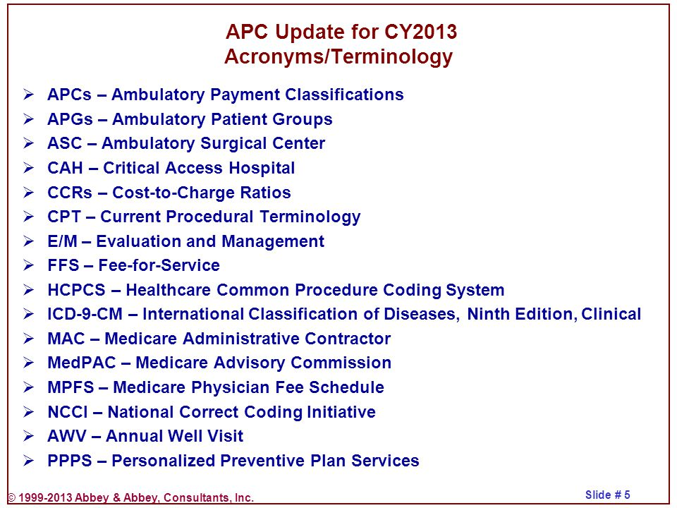 APC Update for CY2013 Acronyms/Terminology