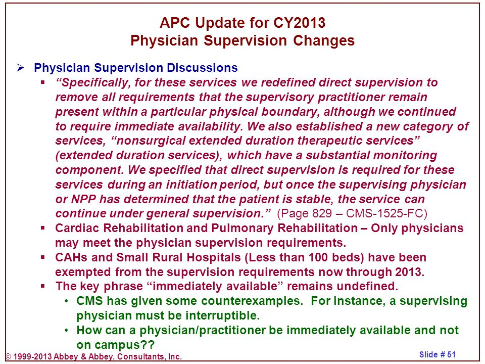 APC Update for CY2013 Physician Supervision Changes