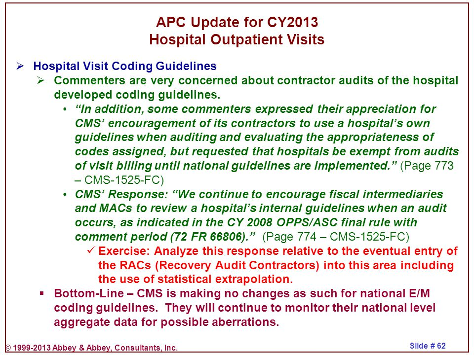 APC Update for CY2013 Hospital Outpatient Visits