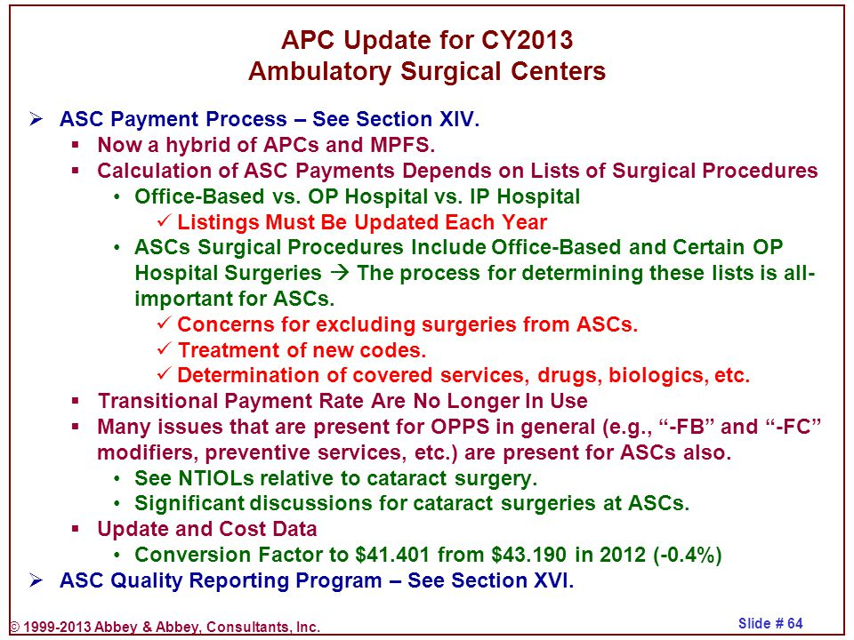 APC Update for CY2013 Ambulatory Surgical Centers