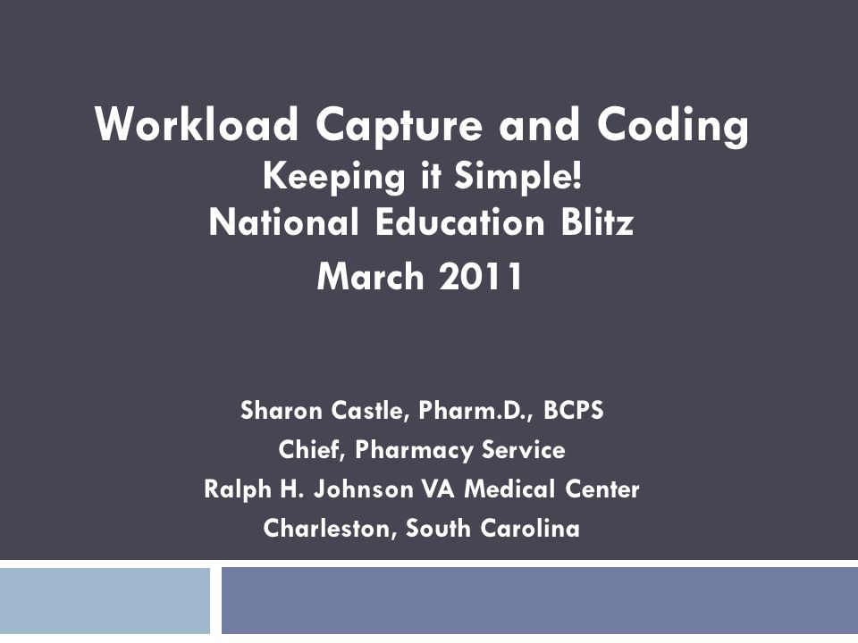 Workload Capture and Coding Keeping it Simple! National Education Blitz
