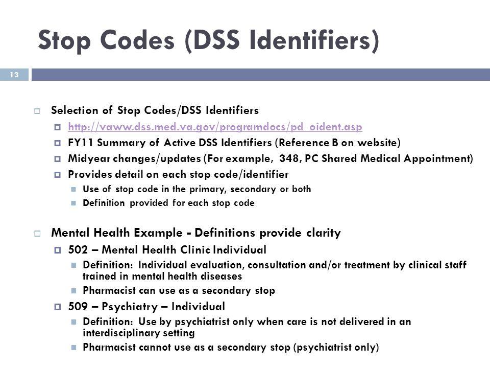 Stop Codes (DSS Identifiers)