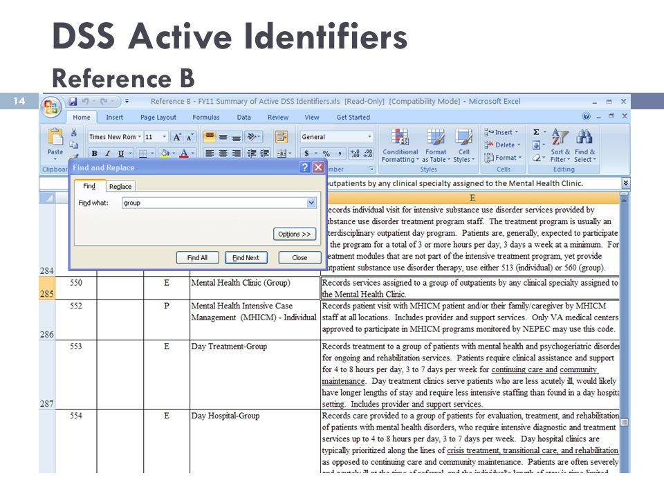 DSS Active Identifiers Reference B