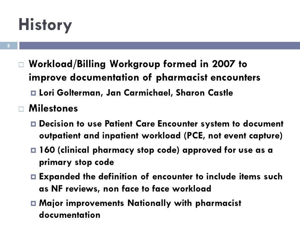 History Workload/Billing Workgroup formed in 2007 to improve documentation of pharmacist encounters.