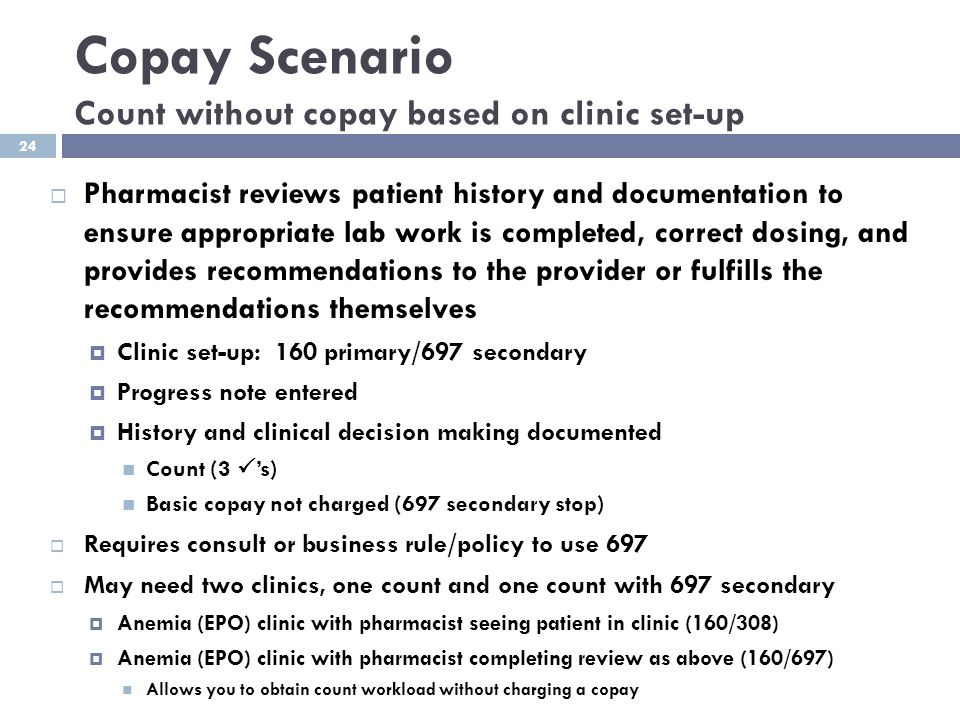 Copay Scenario Count without copay based on clinic set-up