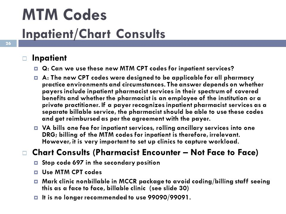 MTM Codes Inpatient/Chart Consults